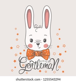 Cute cartoon rabbit boy face with bow tie. Little Gentleman slogan. Vector illustration design for t shirt graphics, fashion prints, slogan tees, posters and other uses