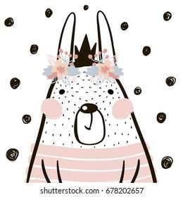 Cute cartoon rabbit girl with crown in scandinavian style. Childish print for nursery, kids apparel,poster, postcard. Vector Illustration