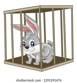 Cute Cartoon Rabbit Inside Steel Cage. Animals in the Cage. Bunny Isolated on White Background