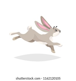 Cute cartoon rabbit running. Flat comic style farm animal drawing. Easter spring symbol. Vector illustration with shadow isolated on white background.