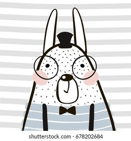 Cute cartoon rabbit in scandinavian style. Childish print for nursery, kids apparel,poster, postcard. Vector Illustration
