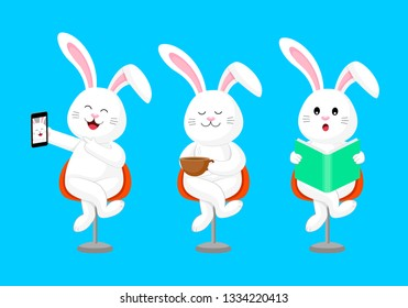 Cute cartoon rabbit sitting cross-legged. Selfie, drinking coffee and reading book. Vector illustration isolated on blue backgroung.