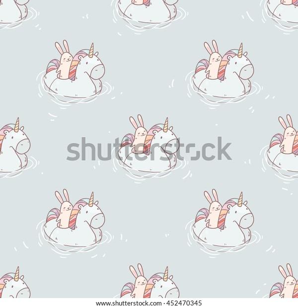 Cute cartoon rabbit in swim ring like Unicorn. Vector summer seamless pattern