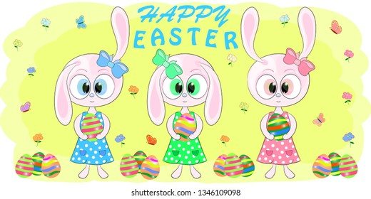 cute cartoon rabbits with easter egs vector illustration.Cute Cartoon pink Bunny with Easter eggs on a yellow background. Hare cartoon vector illustration.