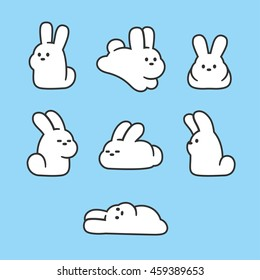 Cute cartoon rabbits set. Simple hand drawn white bunnies in different poses. Vector illustration.
