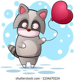 Cute cartoon raccon character. Air balloon illustration. Vector eps 10