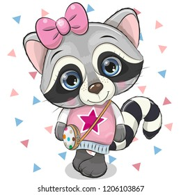 Cute Cartoon Raccoon Girl with a bow on a white background