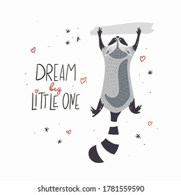 Cute cartoon raccoon. Hand Drawn Doodles. Vector illustration. Template social madia post. Design for greeting card, sticker, party invitation.