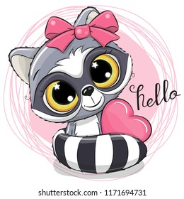 Cute Cartoon Raccoon with heart on a pink background