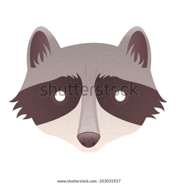 Cute Cartoon Raccoon Mask Head Isolated Stock Vector