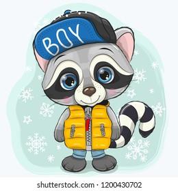 Cute Cartoon Raccoon in a yellow waistcoat on a snow background