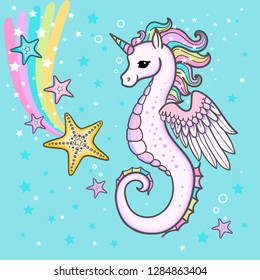 Cute cartoon, rainbow seahorse unicorn with starfish. For the design of prints, posters. Vector