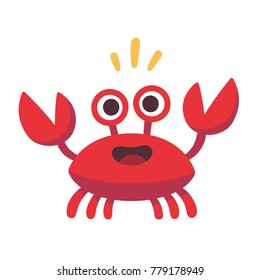 Cute cartoon red crab drawing. Funny smiling crab character vector illustration.