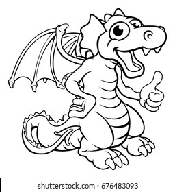 A cute cartoon red dragon character giving a thumbs up