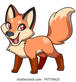 Cute cartoon red fox, digital illustration of wild animals and nature.