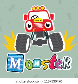 cute cartoon cute red monster truck on grey background illustration vector