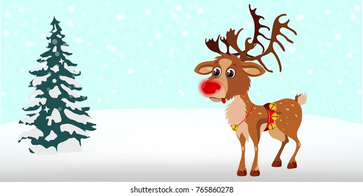 Cute cartoon reindeer with christmas tree on a blue background with snowflakes. Character vector New Year. Rudolf. Greeting card or invitation