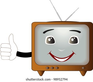 cute cartoon retro TV showing thumb up and smile