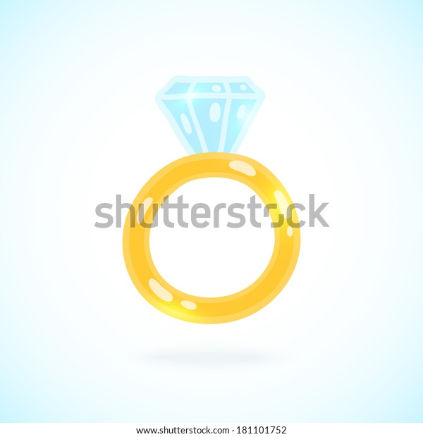 Cute Cartoon Ring Brilliant Engagement Ring Stock Vector Royalty Free 181101752