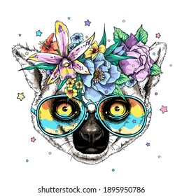 Cute cartoon ring tailed lemur head in a floral wreath and bright sunglasses. Beautiful wild animal with flowers. Stylish summer image for printing on any surface