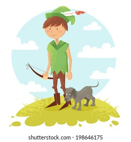 Cute cartoon robin hood boy character with bow and dog wearing a hat with feather