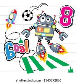 Cute cartoon robot boy play a soccer ball on striped background illustration vector