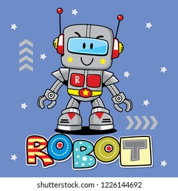 Cute cartoon robot isolated on blue background illustration vector