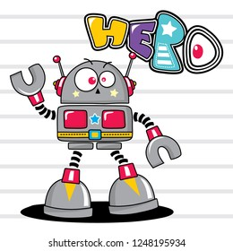 Cute cartoon robot isolated on white background illustration vector , T-Shirt design for kids