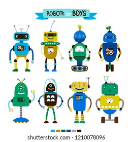 Cute cartoon robots set for boys, isolated on white background, vector illustration