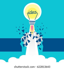 cute cartoon rocket and light bulb on blue background