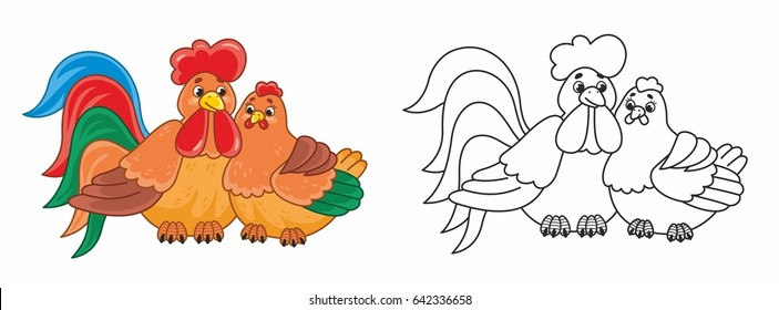 Cute cartoon rooster with hen. Vector illustration for kids