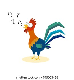 Cute cartoon rooster singing. Isolated on white background.