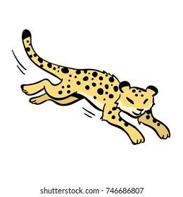 cute cartoon running cheetah