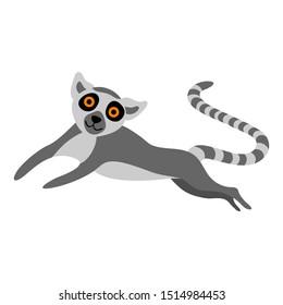 Cute cartoon running lemur isolated on white background. Flat vector illustration.