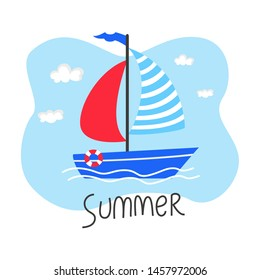 Cute cartoon sailboat on the white background. Vector illustration.