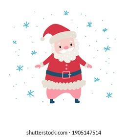 Cute cartoon Santa Claus for Christmas and New Year greeting design. Holiday character. Vector illustration.