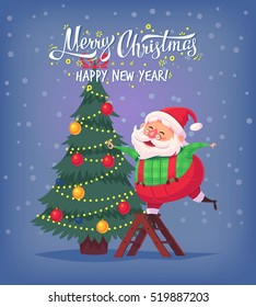 Cute cartoon Santa Claus decorating Christmas tree Merry Christmas vector illustration Greeting card poster.