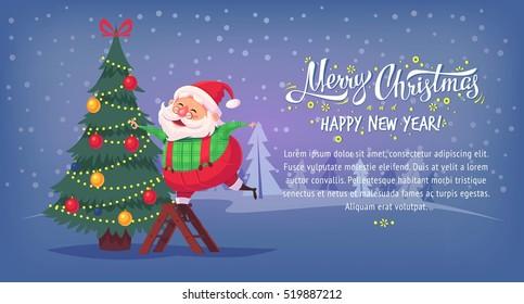 Cute cartoon Santa Claus decorating Christmas tree Merry Christmas vector illustration Greeting card poster horizontal banner.