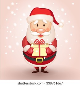 Cute Cartoon Santa Claus presents a gift, holding a gift in his hands. Christmas character perfect for children greeting card or christmas card. Vector illustration. EPS 10
