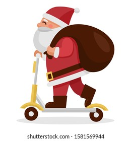 Cute cartoon Santa Claus riding electric scooter, Santa delivery, Vector Illustration