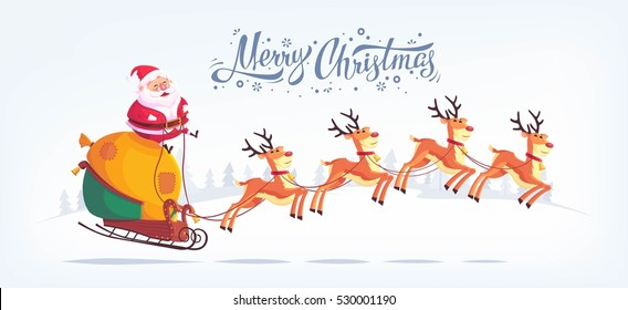 Cute cartoon Santa Claus riding reindeer sleigh Merry Christmas vector illustration Greeting card poster horizontal banner.