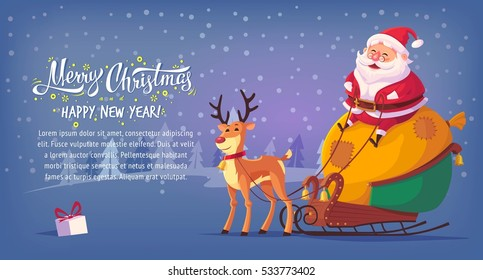 Cute cartoon Santa Claus sitting in sleigh with reindeer Merry Christmas vector illustration horizontal banner