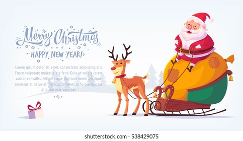 Cute cartoon Santa Claus sitting in sleigh with reindeer Merry Christmas vector illustration horizontal banner.
