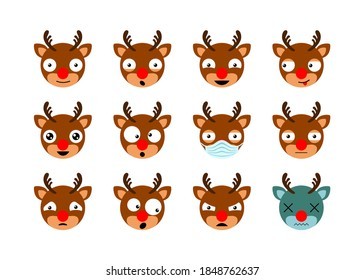 Cute cartoon Santa's reindeer Rudolph. Christmas emoji face set. Icons emoticons . Isolated vector illustration
