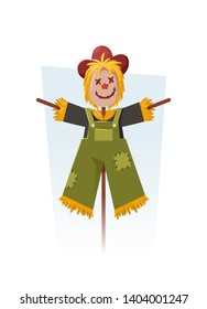Cute Cartoon Scarecrow. Vector Illustration
