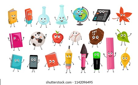 Cute cartoon school characters collection. Vector illustration of school objects isolated on white background. Back to school funny smileys.