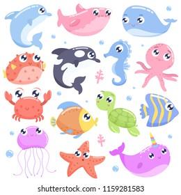 Cute cartoon sea animals. Flat design