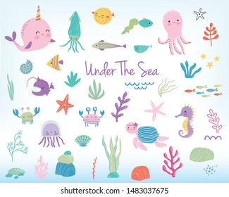 Cute cartoon sea animals and sea plants. Vector illustration. Marine life cartoon character set
