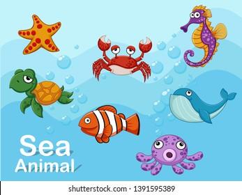 Cute cartoon sea animals underwater. Vector illustration set of collection sea creatures