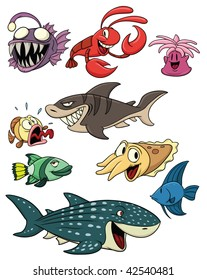 Cute cartoon sea creatures. All in separate layers for easy editing.